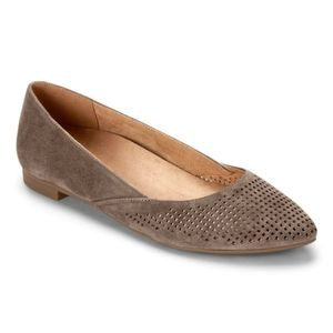 Vionic Taupe Suede Gem Posey Pointed Toe Flat